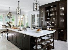 LOVE the two lanterns over the island and chandelier in the breakfast nook! - New Traditional Style - Kitchen
