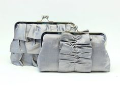 2 Bridesmaids Clutches / Light Gray Set / SALE