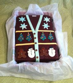 ugly sweater party cake @Dina Dankers Masini - help me make one of these?!?!?