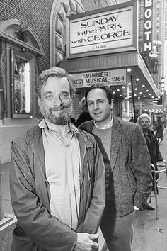 """Sondheim and Lapine outside of the theatre playing """"Sunday in the Park with George"""" circa 1984"""