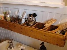 Bathroom storage off the counter.  Could use an old tool box for this!