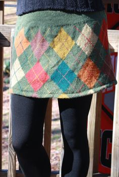 Upcycled (from a sweater) Argyle Mini Skirt. $30.00