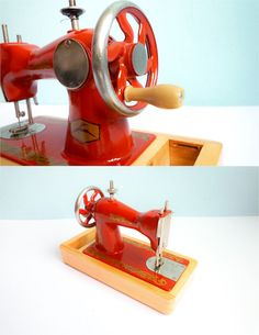 Vintage Sewing Machine Small Toy Red Russian Hand Cranked