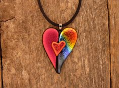 Dichroic Fused Glass Heart in a Heart Necklace by PureLightStudio, $20.00