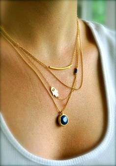 Gold Layering Necklaces, Set of 3, Blue Lapis, Sideways Hamsa, Curved Bar