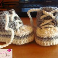 Baby Shower Gift Crochet Patterns « The Yarn Box high top, converse style, crochet free patterns, baby booties, crochet tops, crochet patterns, yarn, baby shoes, knot