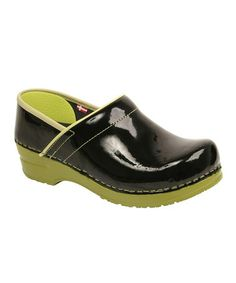 Take a look at this Lime & Black Professional Xenia Patent Clog - Women by Sanita on #zulily today!