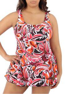 Coral Print Swim Dress One Piece Swimsuit Plus Size at AbbeyPost