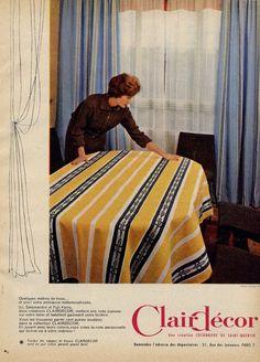 Vintage French Fabric Advertisement via Millie Motts: home  #60s ads #french fabric #mid century ad #Paris #Clair Decor #Vintage textile
