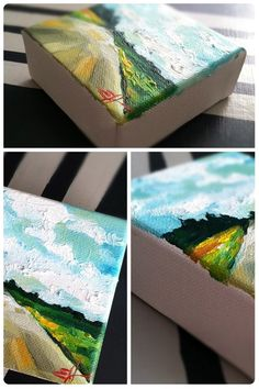 """Nearing 143657″ is a 4×4 inch baby painting.  I love painting tiny paintings because they are perfect little pops of artistic expression.  I like to place them on a shelf near a collection of pretty books, or on a mantle by a vase of flowers.  They also look great in groups, or solo in a little area, hanging on the wall.  Well really, they just look great no matter where you put them!  Tiny paintings are also perfect for the art lover without a huge budget.  These babies are priced just righ..."