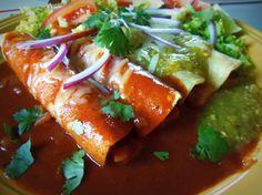 Enchiladas de Papas Doradas y Nopalitos (Crispy Potato and Cactus Enchiladas) HispanicKitchen.com