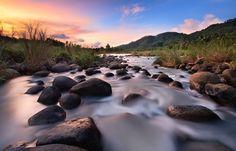 river rocks, sky, exposur photographi, water pictures, landscape photos, sunset, long exposur, landscape photography, amazing nature