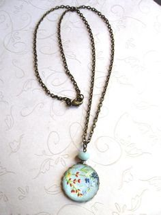 Blue Wildflower Necklace  glass cabochon  by botanicalbird on Etsy
