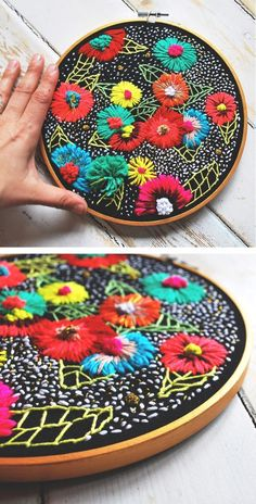 Colorful hoop art by