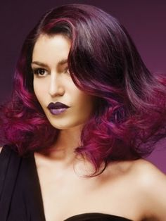 lovely purple hair, ombre with more vibrant colour near the tips ans around the face