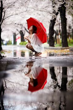 Awesome !Sakura in the Rain…love the pop of red!