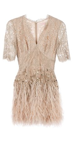 Floral lace feathered dress / MATTHEW WILLIAMSON