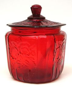 Depression Glass cookie jar ~ I have never seen a red one of these before