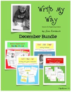 Write My Way lessons for beginning writers DECEMBER Bundle (includes Writing a Report about Santa Unit, Write a Christmas Cloze Letter lesson, Pair and Share editing procedure, Write New Year Resolutions Cloze Sentence lesson) $