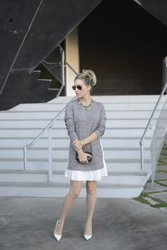 Pleated Sweater Dress