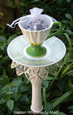 Garden Stake White Petals Teacup
