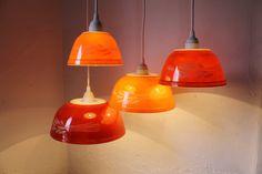 Autumn Harvest  Brick Red and Orange Milk Glass by BootsNGus