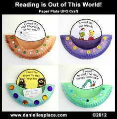 "@ Ginger: what if we print headshots of the kids to go inside and let them decorate ther own space ships for our space unit?   Reading is Out of This World!"" Paper Plate Activity and Bulletin Board Display"