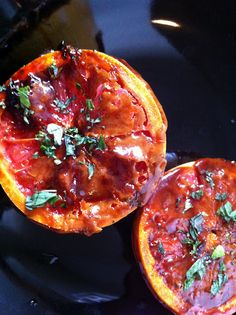 Roasted Grapefruit with Mint by Christine Lu, the belletrist as adapted from Chef Nate Appleman. #Roasted_Grapefruit #Grapefruit #Christine_Lu #thebelletrist #Nate_Appelman