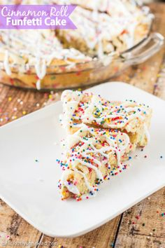 Cinnamon Roll Funfetti Cake - Deliciously Sprinkled