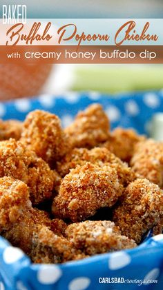 So addictingly crispy, better than any chicken nugget! Dunked in buffalo sauce then baked with spiced panko and cornmeal. And the luscious dip is heavenly! Perfect snack, appetizer or add some veggies and you have a meal.