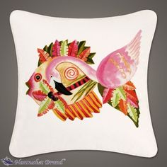 "Flamingo Fish Pillow 18"" x 18"" flamingo fish, pillow 18, fish pillow"