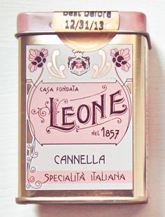 Italian mint tin...love the colors of pink, gray and gold and the graphics and typography.
