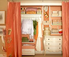 Love this closet.  How to make the most of your space: 1. Take inventory of what you have, then 2. Reconfigure your closet with shelves, drawers, and rods that fit your needs. And if your closet doors make it hard to access the corners of your closet, take them off and hang drapery panels instead. @Mallory Puentes Rosales would it look weird in my bedroom to have curtains instead of doors??