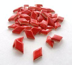 Red diamond tiles Handmade ceramic mosaic tiles by mosaicmonkey, $8.00