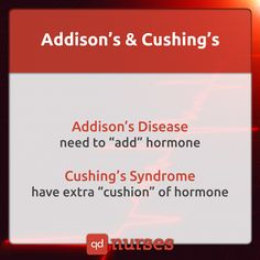 Don't get confused between Addison's and Cushing's! Visit qdnurses.com/qdmemes for your daily dose of nursing education! --- #nclex #nursing #nclextips #nclex_tips #nurse #nursingschool #nursing_school #nursingstudent #nursing_student