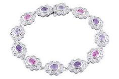 Pastel pink sapphire & purple amethyst bracelet