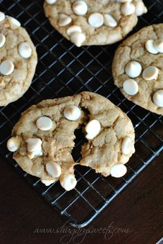 Biscoff white chocolate cookies with homemade Biscoff 'morsels'