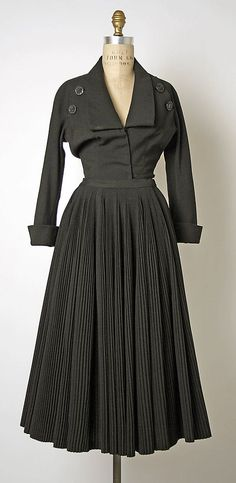 Disigner: Christian Dior (French, Granville 1905–1957 Montecatini) Date: fall/winter 1950–51 Culture: French Medium: (a) wool (b) silk (c) leather (d) nylon