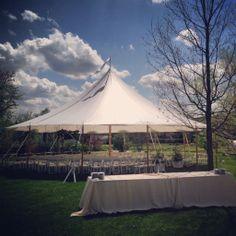 Cocktails/Wedding Ceremony around one Sailcloth Tent.