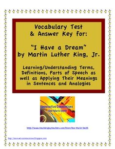 "Vocabulary Test & Key: ""I Have a Dream"""