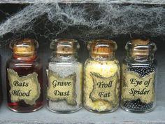 Jar Ideas: Bats blood = kool aid, Grave dust = silver sprinkles, Troll fat = puff corn, Eye of spider = black jelly beans