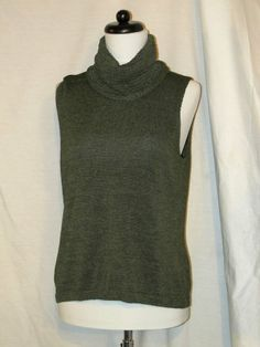 Sz L Josephine Chaus Green Turtleneck Sleeveless Sweater Top Lovely Knit