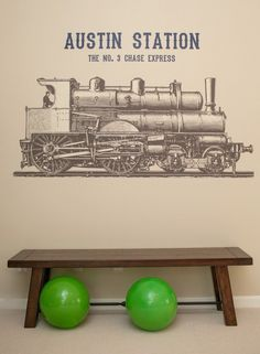 Train Party Ideas: custom wall decal // Paige Simple // www.paigesimple.com