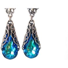 Earrings, Peacock Earrings, Bermuda Blue Earrings, Crystal Earrings,... ($38) ❤ liked on Polyvore