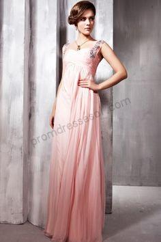 Pink Cap-sleeve Beaded Tencel Formal Evening Dress-595