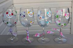 Snowman wine glass set