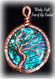Tree of life Pendent with Abalone & 100% copper. There is wonderful color.  Looks great on a copper chain. Each pendent is a OFAK Handmade by me. The one you see is not the one you will recieve but very similar   $49.00 for sterling and abalone or $39.00 for copper or bronze