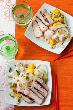 Grilled Teriyaki Pork with Mango-Noodle Salad recipe