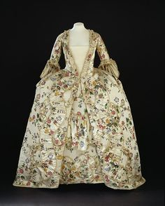 c. 1760-1770, England (made) and China (textile) sack back gown of painted silk, chenille, hand-sewn.  V