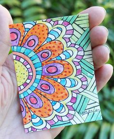 Original Spring Flower Zentangle Painting Art ATC ACEO~ By Ungala